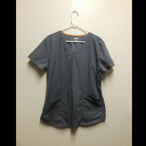 scrubstar gray scrub set top large pants medium